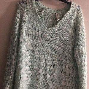 Icy blue V-neck sweater